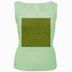 Hexagon1 Black Marble & Yellow Watercolor Women s Green Tank Top