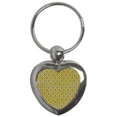 Hexagon1 Black Marble & Yellow Watercolor Key Chains (heart)