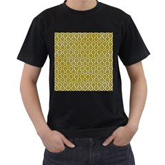 Hexagon1 Black Marble & Yellow Watercolor Men s T Shirt (black) (two Sided)