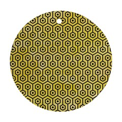Hexagon1 Black Marble & Yellow Watercolor Round Ornament (two Sides)