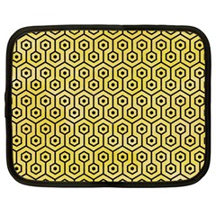 Hexagon1 Black Marble & Yellow Watercolor Netbook Case (large)