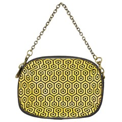 Hexagon1 Black Marble & Yellow Watercolor Chain Purses (two Sides)