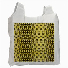 Hexagon1 Black Marble & Yellow Watercolor Recycle Bag (two Side)