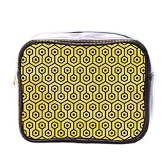 Hexagon1 Black Marble & Yellow Watercolor Mini Toiletries Bags