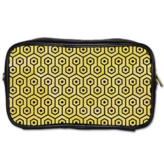 Hexagon1 Black Marble & Yellow Watercolor Toiletries Bags 2 Side