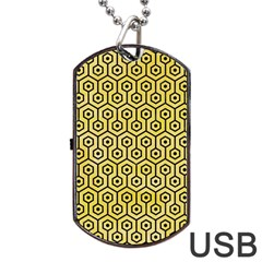 Hexagon1 Black Marble & Yellow Watercolor Dog Tag Usb Flash (one Side)