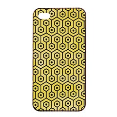 Hexagon1 Black Marble & Yellow Watercolor Apple Iphone 4/4s Seamless Case (black)