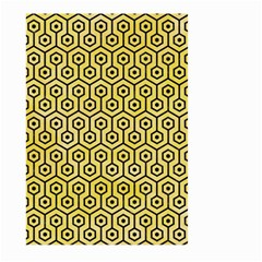 Hexagon1 Black Marble & Yellow Watercolor Large Garden Flag (two Sides)