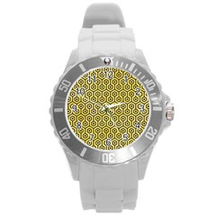 Hexagon1 Black Marble & Yellow Watercolor Round Plastic Sport Watch (l)