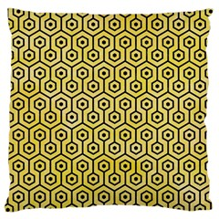 Hexagon1 Black Marble & Yellow Watercolor Large Cushion Case (two Sides)