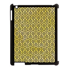 Hexagon1 Black Marble & Yellow Watercolor Apple Ipad 3/4 Case (black)
