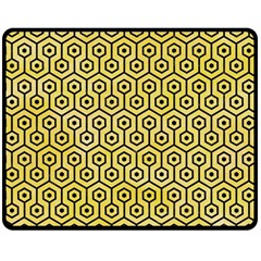 Hexagon1 Black Marble & Yellow Watercolor Double Sided Fleece Blanket (medium)