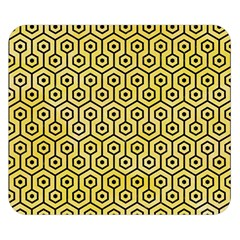 Hexagon1 Black Marble & Yellow Watercolor Double Sided Flano Blanket (small)