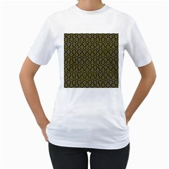 Hexagon1 Black Marble & Yellow Watercolor (r) Women s T Shirt (white) (two Sided)