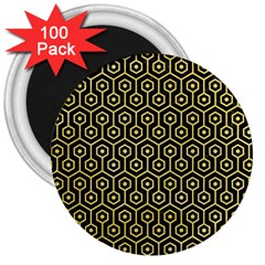 Hexagon1 Black Marble & Yellow Watercolor (r) 3  Magnets (100 Pack)