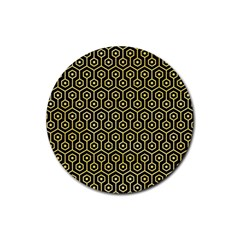 Hexagon1 Black Marble & Yellow Watercolor (r) Rubber Round Coaster (4 Pack)