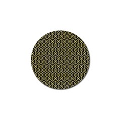 Hexagon1 Black Marble & Yellow Watercolor (r) Golf Ball Marker (4 Pack)