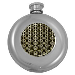 Hexagon1 Black Marble & Yellow Watercolor (r) Round Hip Flask (5 Oz)