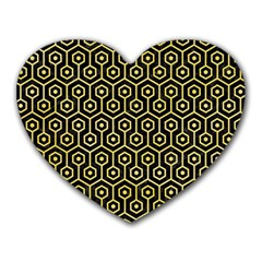 Hexagon1 Black Marble & Yellow Watercolor (r) Heart Mousepads