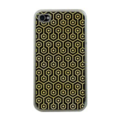 Hexagon1 Black Marble & Yellow Watercolor (r) Apple Iphone 4 Case (clear)