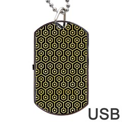 Hexagon1 Black Marble & Yellow Watercolor (r) Dog Tag Usb Flash (two Sides)
