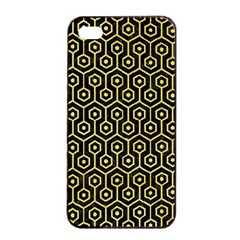 Hexagon1 Black Marble & Yellow Watercolor (r) Apple Iphone 4/4s Seamless Case (black)