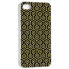 Hexagon1 Black Marble & Yellow Watercolor (r) Apple Iphone 4/4s Seamless Case (white)