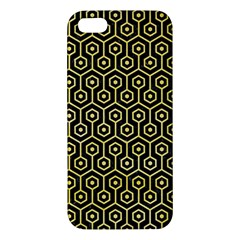 Hexagon1 Black Marble & Yellow Watercolor (r) Apple Iphone 5 Premium Hardshell Case