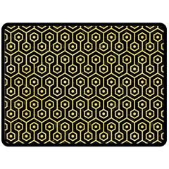 Hexagon1 Black Marble & Yellow Watercolor (r) Double Sided Fleece Blanket (large)