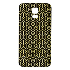 Hexagon1 Black Marble & Yellow Watercolor (r) Samsung Galaxy S5 Back Case (white)