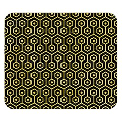 Hexagon1 Black Marble & Yellow Watercolor (r) Double Sided Flano Blanket (small)
