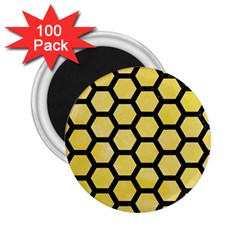 Hexagon2 Black Marble & Yellow Watercolor 2 25  Magnets (100 Pack)