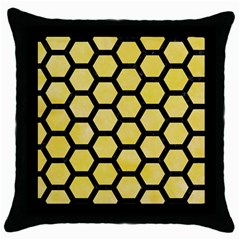 Hexagon2 Black Marble & Yellow Watercolor Throw Pillow Case (black)