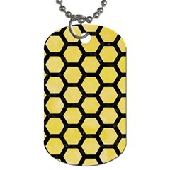 Hexagon2 Black Marble & Yellow Watercolor Dog Tag (two Sides)