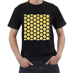 Hexagon2 Black Marble & Yellow Watercolor Men s T Shirt (black) (two Sided)