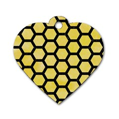 Hexagon2 Black Marble & Yellow Watercolor Dog Tag Heart (two Sides)