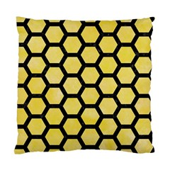 Hexagon2 Black Marble & Yellow Watercolor Standard Cushion Case (two Sides)