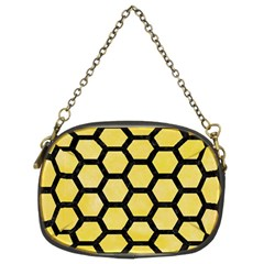 Hexagon2 Black Marble & Yellow Watercolor Chain Purses (two Sides)