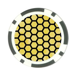 Hexagon2 Black Marble & Yellow Watercolor Poker Chip Card Guard (10 Pack)