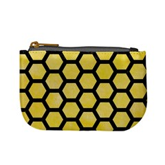 Hexagon2 Black Marble & Yellow Watercolor Mini Coin Purses