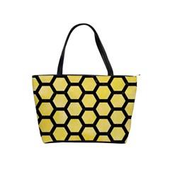 Hexagon2 Black Marble & Yellow Watercolor Shoulder Handbags