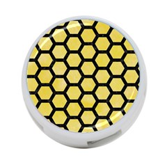 Hexagon2 Black Marble & Yellow Watercolor 4 Port Usb Hub (one Side)
