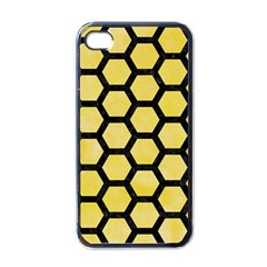 Hexagon2 Black Marble & Yellow Watercolor Apple Iphone 4 Case (black)