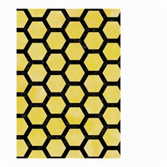 Hexagon2 Black Marble & Yellow Watercolor Small Garden Flag (two Sides)