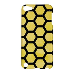 Hexagon2 Black Marble & Yellow Watercolor Apple Ipod Touch 5 Hardshell Case