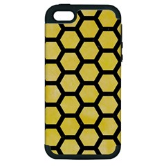 Hexagon2 Black Marble & Yellow Watercolor Apple Iphone 5 Hardshell Case (pc+silicone)