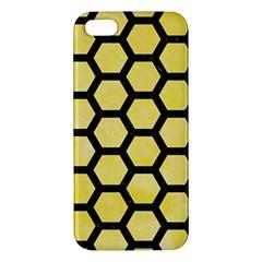 Hexagon2 Black Marble & Yellow Watercolor Apple Iphone 5 Premium Hardshell Case