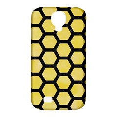 Hexagon2 Black Marble & Yellow Watercolor Samsung Galaxy S4 Classic Hardshell Case (pc+silicone)