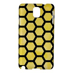 Hexagon2 Black Marble & Yellow Watercolor Samsung Galaxy Note 3 N9005 Hardshell Case