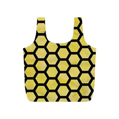 Hexagon2 Black Marble & Yellow Watercolor Full Print Recycle Bags (s)